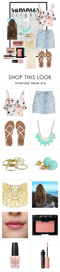 """""""Summer brights"""" by meggykl-percy-jackson ❤ liked on Polyvore featuring New Look, Yves Saint Laurent, Billabong, INC International Concepts, Kendra Scott, Vélizance, NARS Cosmetics, OPI, Benefit and Kate Spade"""