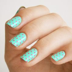 Buff and Polish, A Spring glitter manicure with pink glitter dots...