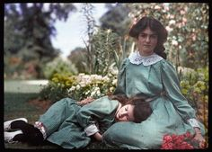 An Autochrome Of Two Sisters, 1908 by Etheldreda Laing