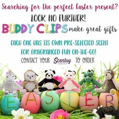 Scentsy buddy clips Do you children get far too much chocolate at Easter? Why not treat them to a buddy clip?They can be clipped on to most things .My son has his in my car and My daughters goes to school with her every day on her school bag x