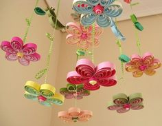 Baby Mobile - Crib Mobile - Baby Nursery Mobile - Flower Mobile - Quilling Mobile - Baby Girl Mobiles - Birds in Rainbow Garden , Birds in Rainbow Garden Baby Girl Crib Cradle Nursery Mobile Quille Baby Mädchen Mobile, Bird Mobile, Flower Mobile, Mobile Mobile, Butterfly Mobile, Kids Crafts, Diy And Crafts, Craft Projects, Rainbow Garden