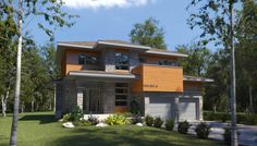 Le Châtaignier II is a chalet with extensive luminosity nestled amid the Laurentides. Single-family home designed by Les Constructions Raymond et Fils. Grand Hall, Grand Entrance, Plan Canada, Modern Floor Plans, Central Island, Cottage, Construction, Walk In Pantry, Modern House Design
