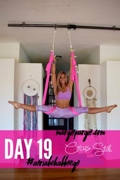 Day 19 Circus Seat Aerial Yoga Challenge Sign up at MargiePargie.com/Aerial-Challenge