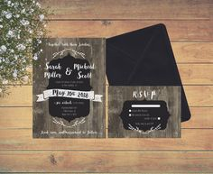 Printable Wedding Invitation Vintage and modern, chalkboard, old ranch style, wood, brown and black by ChloeDrapeauArt on Etsy Printable Wedding Invitations, Modern Wedding Invitations, Ranch Style, Chalkboard, Etsy Shop, Unique Jewelry, Handmade Gifts, Shops, Printables
