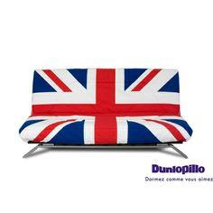 Banquette clic clac London avec matelas Dunlopillo maison facile : www.maison-facile.com