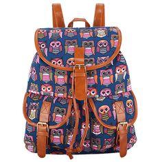 Small Owl pink print Vintage Rucksack Canvas Women BackpackSchool Bag