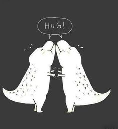 Dinosaurs trying to hug each other!