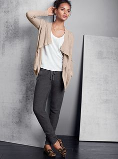 Luxe Drape Cardigan Sweater A Kiss of Cashmere ..Nice Saturday Outfit....