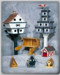 Birdhouse Assortment Plans | 7 plans including 4 houses and 3 feeders. Projects require only standard hand tools and inexpensive materials. Traceable pieces. Plan includes full materials list and step by step instructions. Please note this is an American plan and all measurements are imperial.