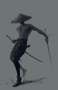 Samurai with the swords by Sidart Character Concept, Character Art, Concept Art, Ninja Kunst, Art Ninja, Ronin Samurai, Samurai Artwork, Fighting Poses, Art Japonais