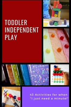 A great list of 43 activities for toddler independent play! You can use these in a busy bag, as quiet time activities, or pull them out when you just need a minute! Also great for fine motor work and creativity building. Quiet Time Activities, Activities For 2 Year Olds, Creative Activities For Kids, Indoor Activities For Kids, Kids Learning Activities, Preschool Activities, Family Activities, Water Games For Kids, Games For Toddlers