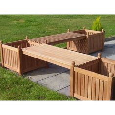 Teak Corner Bench with Planters – The UK's No. 1 Garden Furniture Store