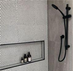 Home Decoration Inspiration .Home Decoration Inspiration White Tiles Black Grout, White Tile Shower, Black Shower, Black And White Backsplash, Shower Floor Tile, Black Tile Bathrooms, Small Bathroom, Chic Bathrooms, Contemporary Bathrooms