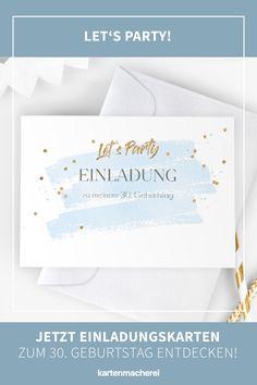 """Aquarell & Handlettering: Party Einladungskarte zum 30. Geburtstag. 30. Geburtstag - Zeit zu feiern! Lade mit hochwertigen und modernen Einladungskarten deine Gäste zu deiner Geburtstagsfeier ein. Lass dich von kreativen Designs und witzigen Ideen für deine Einladung inspirieren. Gestalte deine Einladungskarte zum 30. Geburtstag jetzt ganz einfach online und überrasche deine Liebsten. Design: """"Summer Glow"""" #kartenmacherei #geburtstag Designs, Summer, Birthday Celebrations, Invitation Cards, Creative Ideas, Watercolor, Summer Time"""