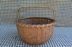 Antique Primitive Early Round Splint Gathering Basket