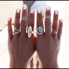 """Boho 6 pc Silver Midi Ring Set Boho 6pc Ring Set - Silver Plated midi Rings. Great set for Free People/Child of Wild layering Beach look. Natural stone in the ring on the left index finger in the first photo. Sizes are from left to right in the first photo:  5 """"Teepee"""" 3.5 """"Indian Princess' Crown"""" 8 """"Natural Stone"""" Adjustable 7 """"Turkish Symbol"""" 3.5 """"Midi Triangle"""" 4 """"X"""" Free People Jewelry Rings"""