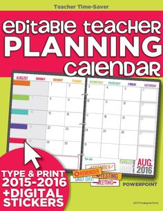 Teacher Organization - 5 Must Have Printables: 2015-2016 Editable Calendar Template: There is an editable version using PowerPoint if you like setting as much up digitally before printing. There are digital stickers you can add ahead of time or print as many as you want to use throughout the year to mark special reminders.