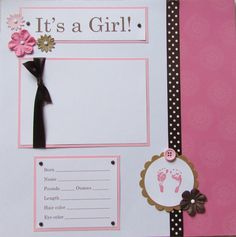 baby scrapbook pages | 20 BABY GIRL Scrapbook Pages for 12x12 FiRsT YeAr ALbUm -- pretty in ...