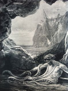 """Gilliatt et la pieuvre - Gustave Doré pour """"Les Travailleurs de la mer"""", de Victor Hugo"""