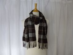 Vintage 80s 90s Scottish Tartan Plaid Soft 100% Cashmere Long Neck Scarf Brown Tan Braided Fringe Unisex Winter Preppy Scotland Glam Garb by GlamGarbVintage on Etsy