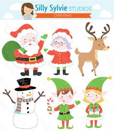 Christmas Clip Art Santa Claus Mrs. Claus by SillySylvieStudios, $4.50