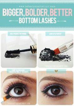 Bigger bolder bottom lash trick...smudge mascara on tissue or napkin dab on liner brush and dot inbetween lash line then apply mascara as usual