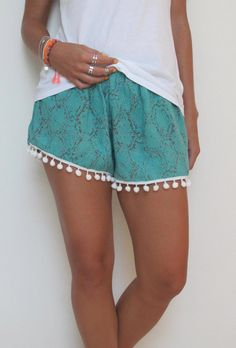 Pom Pom Shorts - Turquoise / Jade Green with grey detail Jungle Pattern with White Pom Pom Trim - 1970s inspired high waisted gym shorts on Etsy, $29.00