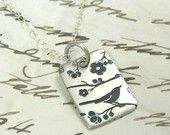 Chirp silver bird necklace by asilomarworks on etsy