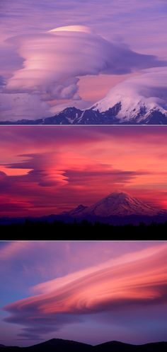 Lenticular clouds.  Mount Rainer, WA.