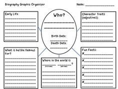 This is a graphic organizer we are using with our 3rd graders.  It is helping them take biographies and organize the important information to truly understand that person.  Can be used for older and younger grades as well!