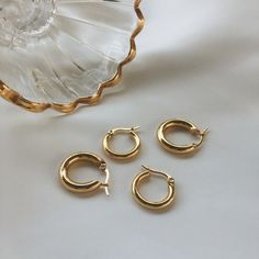 Vintage gold hoop earrings. These chunky gold hoops are in Bold Petite and Bold Medium sizes. Visit www.thehexad.com for more sizes and other thickness.
