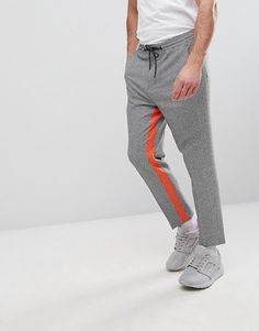 ASOS Tapered Smart Pants In Gingham With Orange Insert Stripe