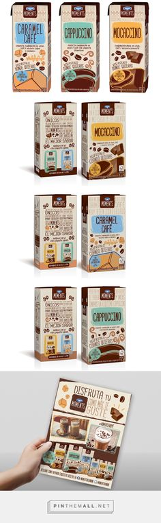 Danone MOMENTS, coffee+milk beverage packs by Connie Sammán. Source: Bechance. Pin curated by #SFields99 #packaging #design #inspiration #ideas #creative #product #coffee #drinks #milk #beverages #dairy #typography #illustration