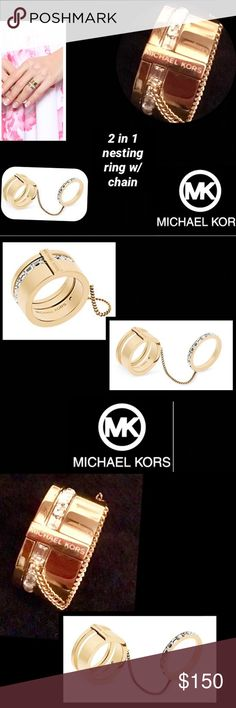 HPMichaelKors•BrillianceBaguette2in1BarrelRing Up your jewelry game with this unique Micheal Kors ringThis eye-catching accessory features two connected gold-tone bands and baguette crystal band connected by a draped curb chainWear on one finger in barrel form or across two fingers for a stylish twist Two 1-in. nesting rings Slip-on High Polished finish Requires speciality care Gold-tone stainless steel sz 8 KORS Michael Kors Jewelry Rings