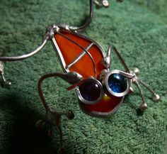 Stained Glass Streaky Orange and Wire Handmade Tree Frog OOAK Garden Art via Etsy