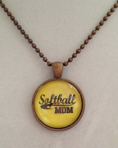 Softball Mom Pendant Necklace by joytoyou41 on Etsy, $20.00