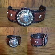 Cowgirl repurposed recycled leather cuff with western concho. http://etsy.me/1NHguEF