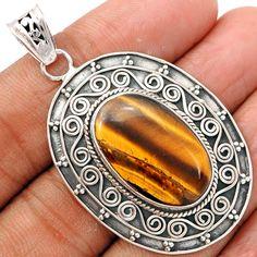 Tiger Eye 925 Sterling Silver Pendant Jewelry TEYP834 - JJDesignerJewelry