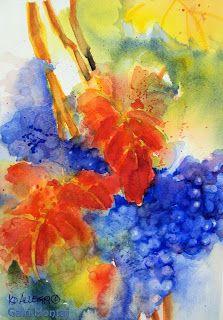 "'Autumn Vines: Pinot Noir' — Kathy Delumpa Allegri  7 x 10.25"", watercolor, $135 Contemporary Art Artists, Pinot Noir, Vines, Autumn, Watercolor, Inspiring Art, Painting, Pen And Wash, Watercolor Painting"