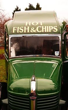 Bedford mobile chip shop, England by Peter Ashley. Fish and Chips . I still crave them . we used to get them rolled up in newspaper. England Ireland, England Uk, Bedford England, Food Trucks, Station Wagon, Fish And Chip Shop, Fish And Chips, English Countryside, London Calling