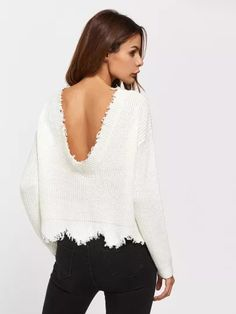 Shop Low Back Scallop Raw Edge Jumper online. SheIn offers Low Back Scallop  Raw Edge Jumper   more to fit your fashionable needs. d739c8571d