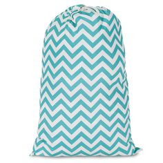 Printed Laundry Bag-Teal Chevron