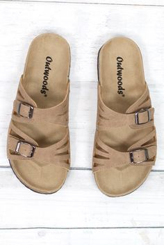 559cdb8d351a Cut Out Bork Slide On Sandals Leather Look  Taupe . TFL