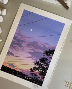 Cute Canvas Paintings, Scenery Paintings, Mini Canvas Art, Watercolor Art Lessons, Watercolor Paintings, Watercolour, Art Folder, Sky Painting, Guache