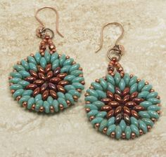 TURQUOISE PICASSO SUPERDUO Earrings - Dangle Earrings - Bronze Luster Opaque Red Super Duos - Miyuki Seed Beads - Bronze Luster Fire Polish by CinfulBeadCreations on Etsy