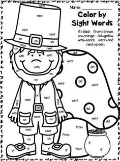sight word coloring sheet for st pattys day can easily change to an articulation or vocabulary activity first grade fun - St Patricks Day Pictures Color