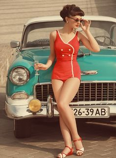 pin up swimsuit and a classy car