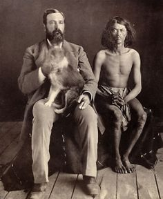 Camp Verde post trader William S. Head, his dog Boss and a 28-year-old Apache who the soldiers call Mickey Free, circa 1877.