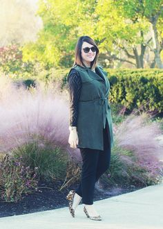 26 and Counting // Army Green Anthropologie Vest, Fall Layers, Work Wear, Office Style, Banana Republic