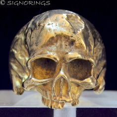 http://www.ebay.com/itm/222069458472 - Amazing 14K Yellow Gold 17 Grams Mens Skull Ring in Antique Finish by SIGNO RINGS
